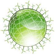windmills surrounding green globe - stock illustration