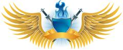 winged fire crest - stock illustration