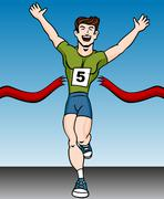 marathon finish line - stock illustration