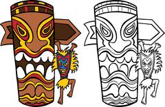 Witch doctor with totem pole Stock Illustration