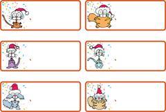 jingle cat christmas gift tags - stock illustration