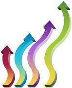 Upward moving arrows Stock Illustration