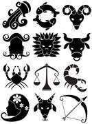 zodiac symbols - stock illustration
