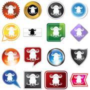 multiple buttons - gemini - stock illustration