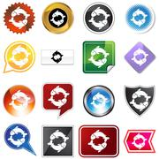 multiple buttons - pisces - stock illustration