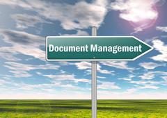 signpost document management - stock illustration
