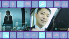 Business Motion Graphics Multi Ethnic finance exchange Technology touch screen Stock Footage