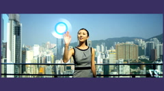 Motion Graphics Asian Businesswoman Touchscreen commodities Analysis technology - stock footage