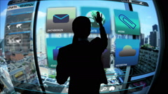 Analysis Businesswoman Touchscreen motion graphics technology Stock global city - stock footage