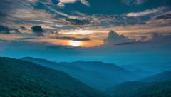 Stock Video Footage of Vivid Blue Ridge Mountain Sunset at Craggy Gardens