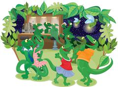 Illustration cartoon of lizzards at a night club Piirros