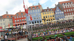 Colorful Promenade of Nyhavn in Copenhagen Stock Footage