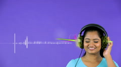 Indian Female Listening Music Headphones Technology Motion Graphics Melody wave Stock Footage