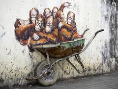 Street Art Mural in Kuching, Sarawak, Malaysia - stock photo