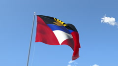 The flag of Antigua and Bermuda Waving on the Wind. Stock Footage