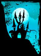 Halloween composition with horror house. EPS 10 Stock Illustration