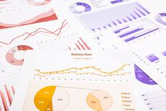 Business charts, data analysis, marketing report and educational research Stock Photos