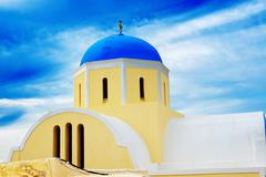 Stock Photo of orthodox church on santorini island, greece