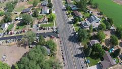 Aerial above Main Street parade route HD 024 Stock Footage