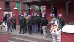 People group celebrating in Katmandu street Stock Footage
