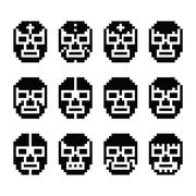 Lucha Libre, luchador pixelated Mexican wrestling masks black icons - stock illustration