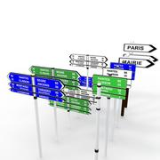 3d model of Directions sign and sign-posts