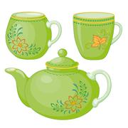 Teapot and cups - stock illustration
