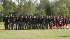 American Civil War Reenactment Union Company in Formation Stock Footage