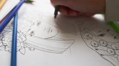 drawing process, close-up - stock footage