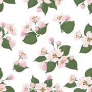 Stock Illustration of Seamless floral pattern, apple tree flowers