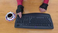Human hand with forefinger going to press key on keyboard Stock Footage