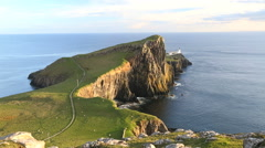 Neist lighthouse Neist Point Moonen Bay Skye Scotland UK Stock Footage