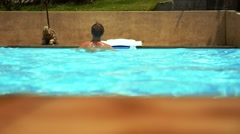 Young Wet Sexy Muscular Man in the Swimming Pool. Slow Motion. Stock Footage