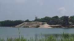 Industrial sand mining on the land side of the river dike, The Netherlands Stock Footage