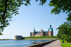 Medieval castle at kalmar in sweden Stock Photos