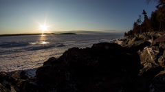 Sunset over the ice Stock Footage