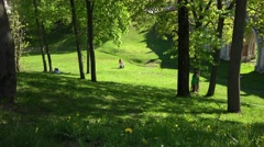 Sunny weekend day in park, people and children walking, playing, relaxing. - stock footage