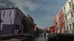 Burano, venice, shooting on a boat across the island Stock Footage