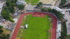 Aerial view of Californian athletic track Stock Footage