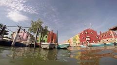 Burano, Venice, ItalyBurano, Venice, Italy, shooting on a boat across the island Stock Footage