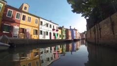 Burano, Venice, Italy, shooting on a Boat across the island Stock Footage