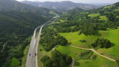 Aerial view of California road highways - stock footage