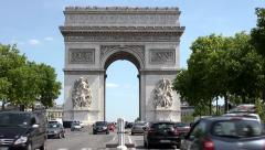 Arc de Triomphe Daylight Long Shot Stock Footage