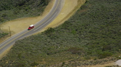 Aerial view of Fire truck Californian Hills Stock Footage