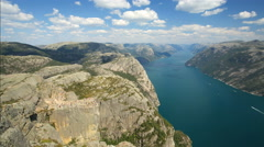 Preacher Pulpit Rock at Lysefjord 4K timelapse distant view Stock Footage