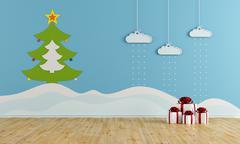 christmas playroom - stock illustration