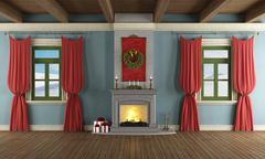 luxury living room with xmas decor - stock illustration