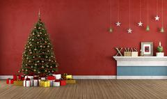 Old red room with christmas tree Stock Illustration