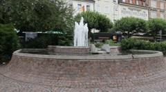 Small fountain on Augusta square (Augusta platz). Baden-Baden. Germany Stock Footage