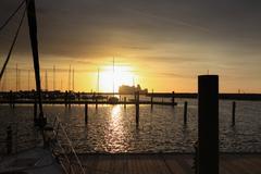 Stock Photo of sunset at warnemünde harbor